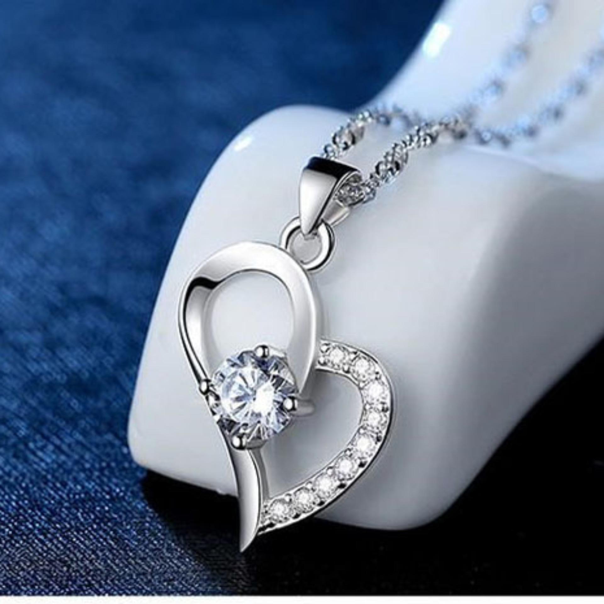 Dây chuyền nữ kèm mặt trái tim đính đá zircon lấp lánh phong cách hàn quốc SPN-A07