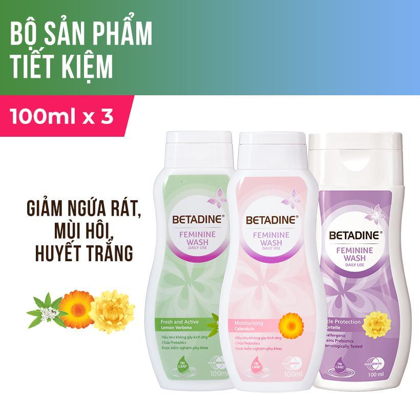 Bộ 3 dung dịch vệ sinh phụ nữ Betadine (Tím, Hồng, Xanh) - chai 100ml nhập khẩu