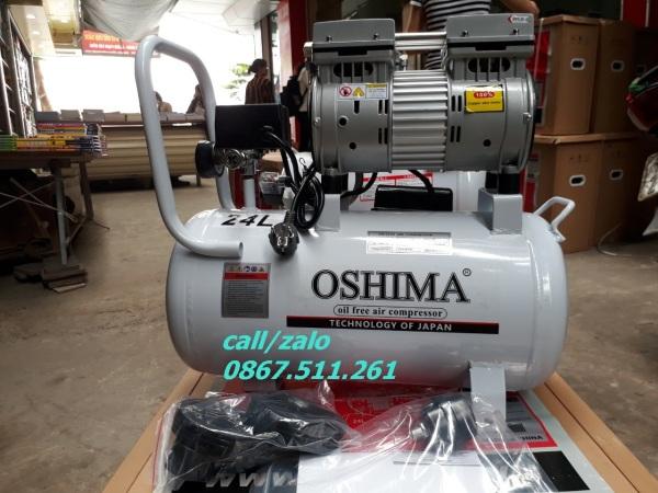 Máy nén khí không dầu Oshima 24L giảm âm, không ồn