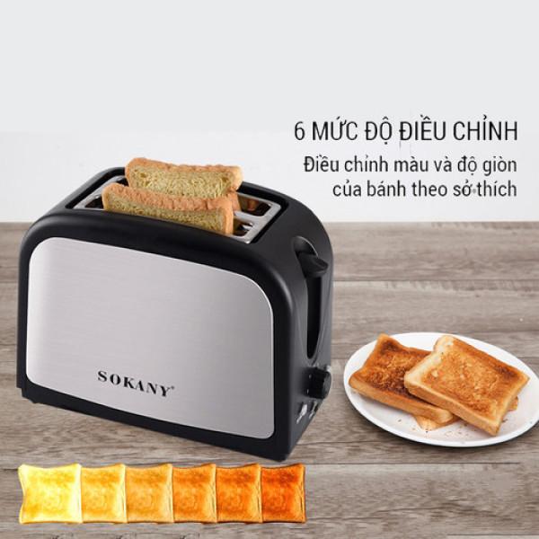 Máy nướng bánh mỳ,lò nướng bánh, làm bánh mỳ 800W SOKANY xám đen [ đổi mới trong 7 ngày - bảo hành 1 năm