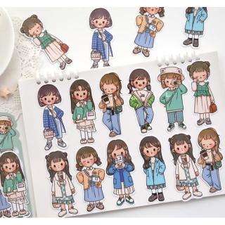 Túi Sticker hình dán trang trí mẫu cô bé nữ sinh siêu dễ thương, Set sticker cô bé thời trang dán trang trí sổ tay, sổ lưu bút, vật dụng thumbnail