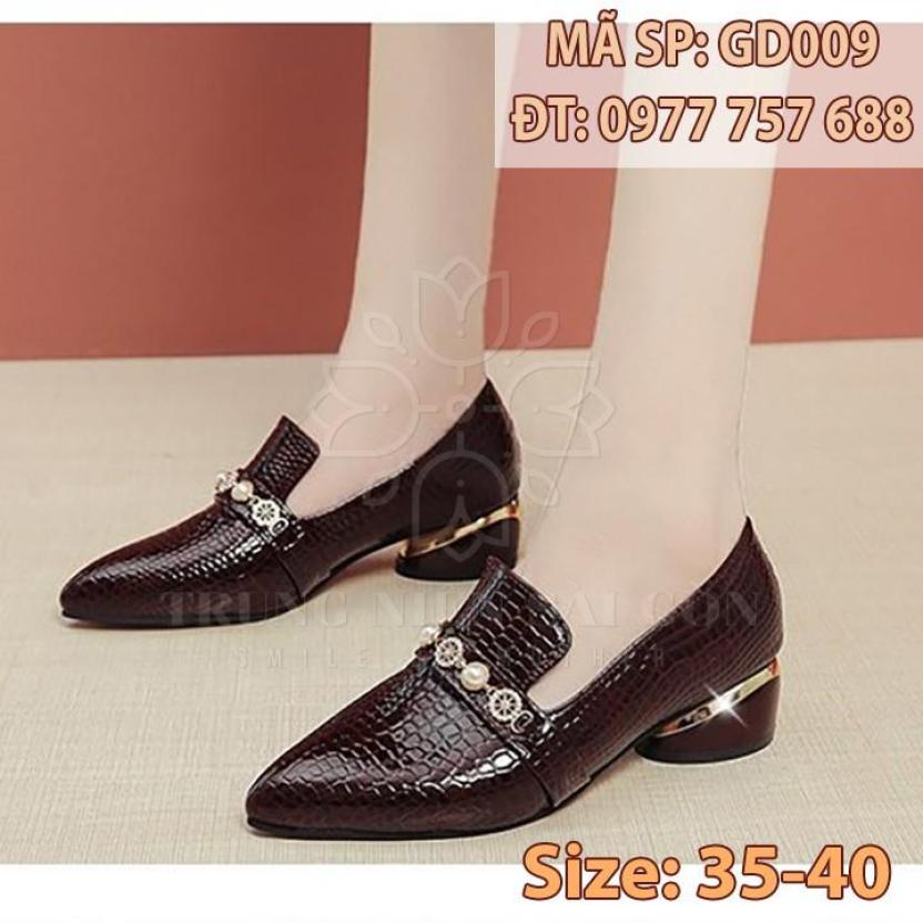 Giày nữ trung niên đế thấp ngoại cỡ cao cấp sang trọng cho mẹ u50 giá rẻ