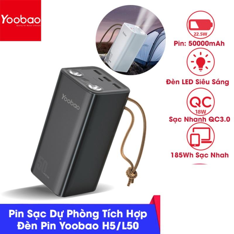 Pin sạc dự phòng Yoobao H5 / L50 dung lượng 50000 mAh, tích hợp đèn pin siêu sáng, hỗ trợ các giao thức sạc nhanh công xuất 22.5W PD cho iphone, QC3.0 android, SCP Huawei