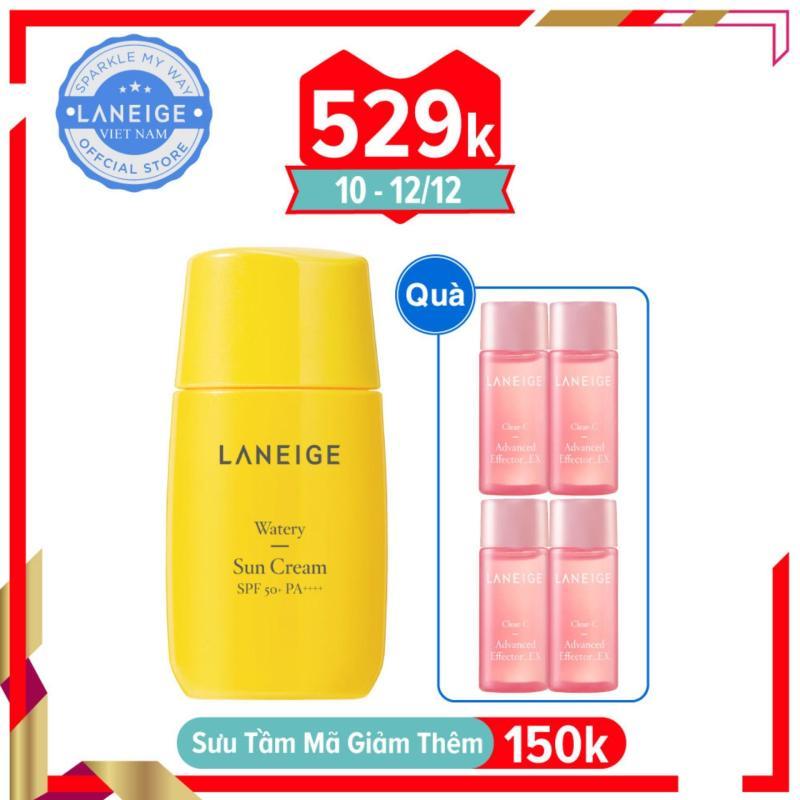Kem chống nắng cho da thường và da khô Laneige Watery Sun Cream SPF50+ PA++++ 50ml tặng kèm 4 Tinh chất Vitamin C chống oxy hoá