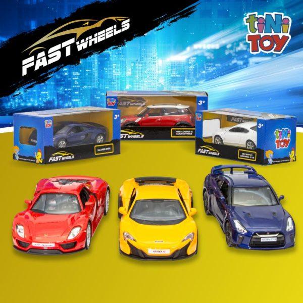 Đồ chơi mô hình xe tốc độ FastWheels 5 inch tiNiToy, xe chạy trớn, phù hợp cho bé từ 3-6 tuổi, mô phỏng các loại xe nổi tiếng, đạt tiêu chuẩn Châu Âu EN71, an toàn cho bé (Giao mẫu ngẫu nhiên)