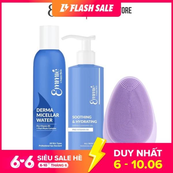 Bộ sản phẩm làm sạch: Máy Rửa Mặt, 1 Nước Tẩy Trang & 1 Gel Rửa Mặt Emmié By Happy Skin