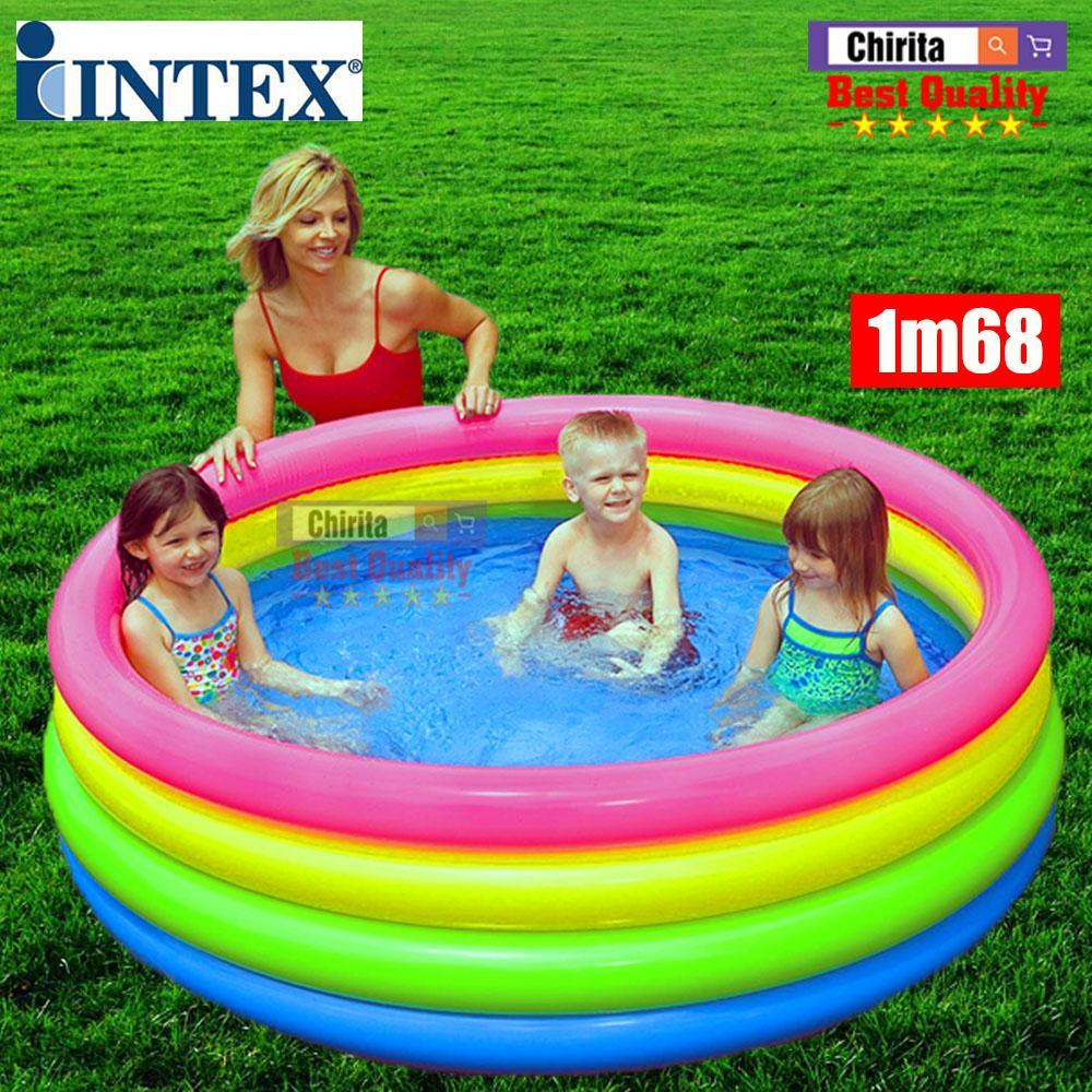 Offer Khuyến Mãi Bể Bơi Cho Bé Chính Hiệu INTEX - Phao Bơi Cầu Vòng 4 Tầng 1m68 -  56441