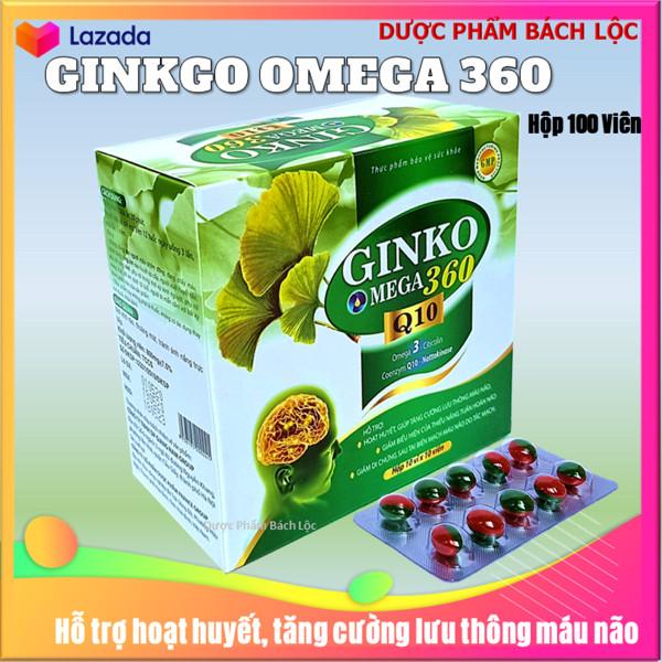 VIên uống bổ não Ginko Ome.ga 360mg Q10 - France Group - Giúp tăng cường lưu thông máu não, hỗ trợ giảm di chứng sau tai biến mạch máu não- Hộp 100 viên giá rẻ