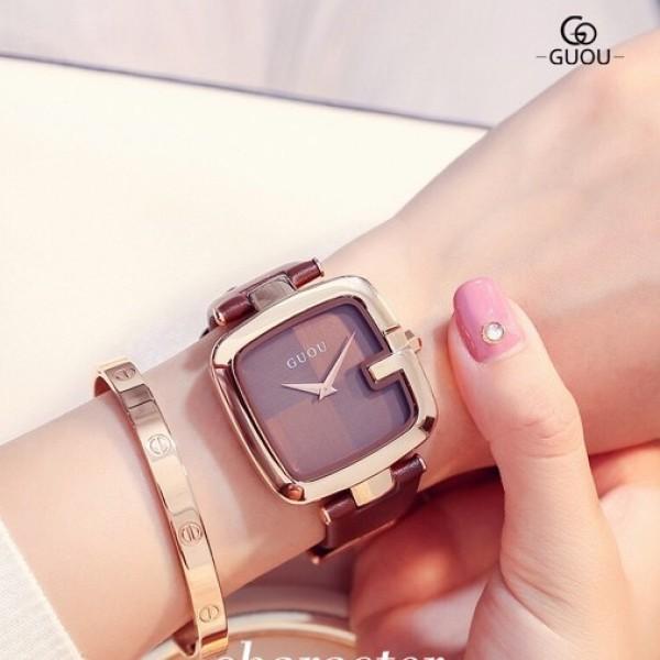 Đồng hồ nữ dây da thời trang cao cấp GUOU8190 phong cách trẻ trung cá tính bán chạy