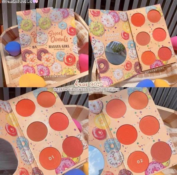 Bảng Phấn Má Hồng 6 ô Sweet Donuts Hasaya Girl siêu xinh