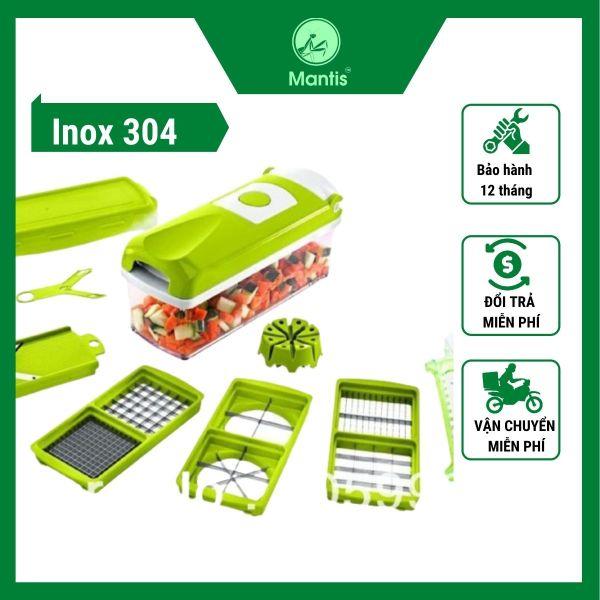 bộ cắt rau củ quả đa năng Mantis sử dụng inox 304 đạt tiêu chuẩn cho thực phẩm cắt hạt lưu, bào sợi nhanh chóng tiện lợi