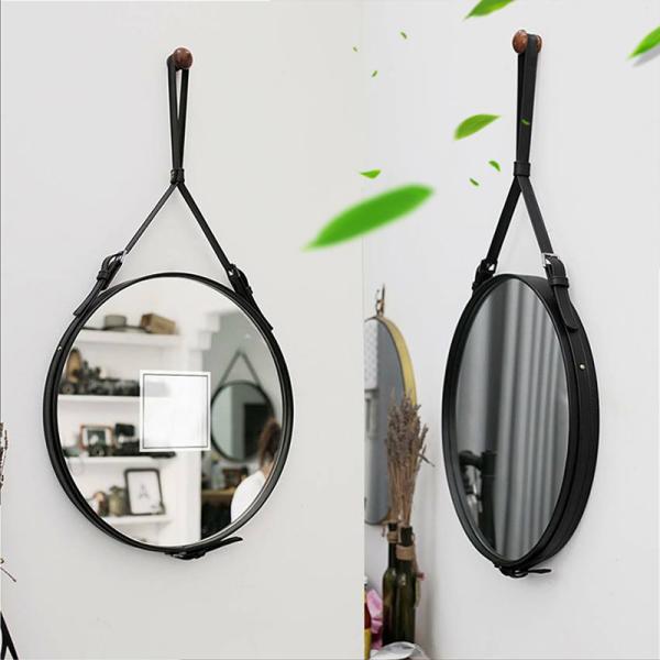 Gương tròn gương goi treo tường dây da simili cao cấp đường kính 50cm giá rẻ