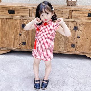♡Cherful655 Thời Trang Trung Quốc Năm Mới Cho Bé Gái Sườn Xám Ngắn Tay Đầm Công Chúa Cổ Đứng Có Khóa Cài Họa Tiết Kẻ Ca Rô Hoặc Hoa Ngọt Ngào