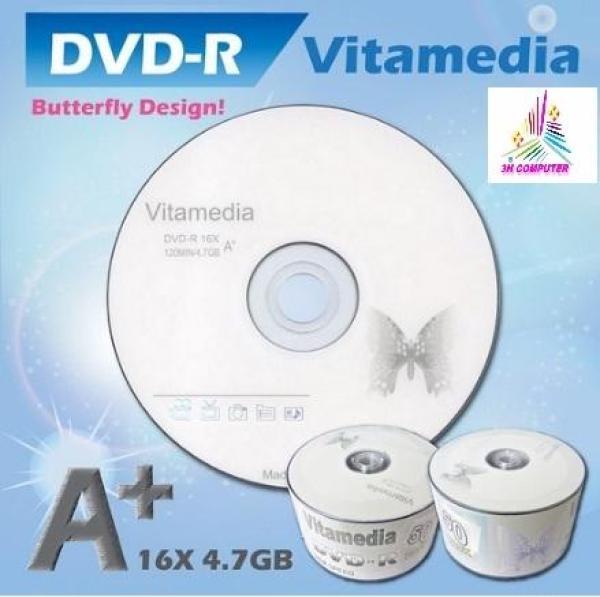 Bảng giá Đĩa dvd trắng ,Đĩa trắng DVD Vitamedia 1 lốc 50  cái 4.7G hộp box Phong Vũ