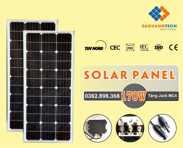 Tấm Pin Năng Lượng Mặt Trời 170W MONO + Tặng Jack MC  - LH: 0382-898-368