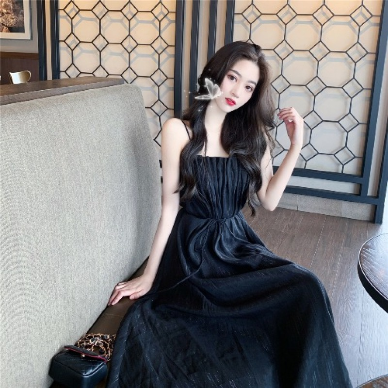 Mùa Hè 2020 Mẫu Mới Phiên Bản Hàn Quốc Mốt Thời Thượng Kiểu Gấp Bó Eo Tôn Dáng Cổ Tích Váy Dài Khí Chất Phong Cách Tây Hai Dây Đầm Nữ