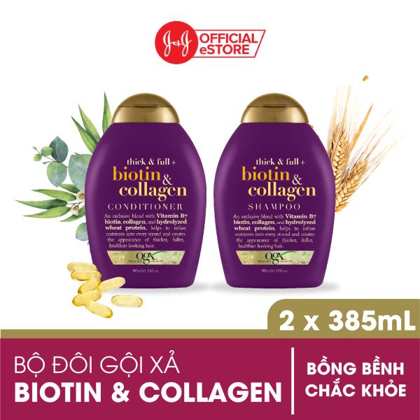 Bộ 2 Dầu gội và dầu xả OGX Thick & full + biotin & collagen 385ml nhập khẩu