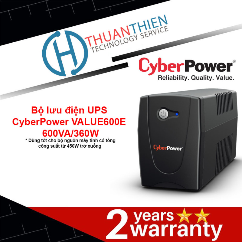 Bảng giá Bộ lưu điện UPS CyberPower VALUE600E (600VA/360W) - Có cổng điều khiển cho Nas, PC... Phong Vũ