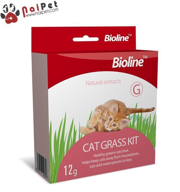 Bộ Trồng Cỏ Tươi Hạt Giống Cỏ Tươi Cho Mèo Cat Grass Kit Bioline 12g