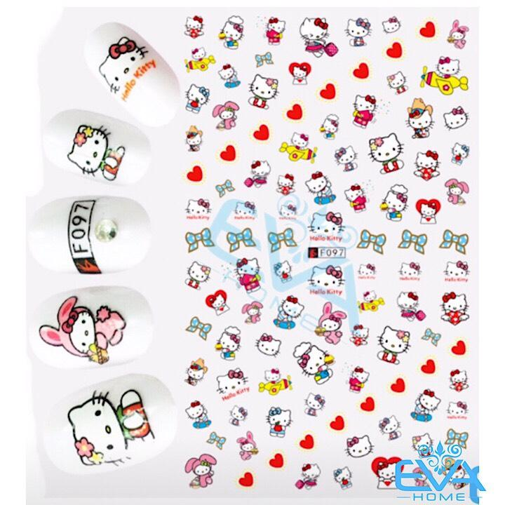 Miếng Dán Móng Tay 3D Nail Sticker Hoạt Hình Mèo Hồng Kity F097 tốt nhất