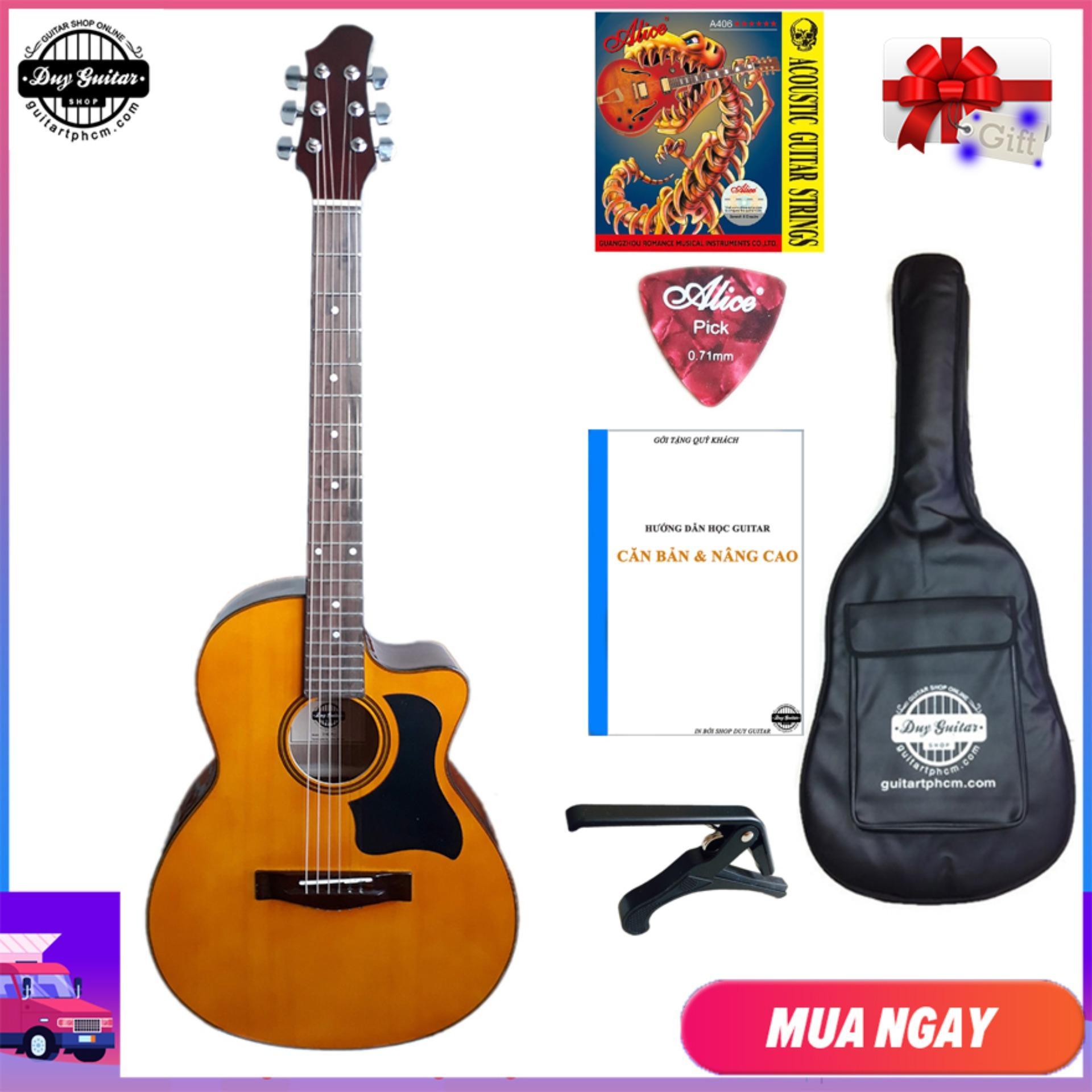 [ Tặng Giáo Trình ] Đàn Guitar Acoustic DVE70 ( Màu Vàng )+ Tặng Combo Bao Da, Capo, Phụ Kiện Duy Guitar - Shop đàn Ghita Giá Rẻ - Đàn Ghi-ta Dành Cho Người Mới Tập - Shop đàn Ghi Ta đệm Hát Modern Có Giá Rất Tốt