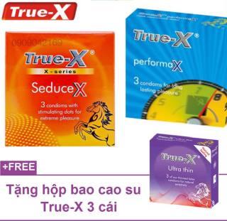 Bộ 2 Bao Cao Su kéo dài thời gian True-X PerformaX -- True-X Seducex Gân Gai + tặng Ultra Thin Siêu Mỏng thumbnail