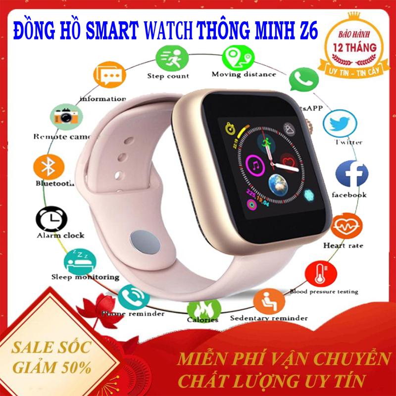 Đồng hồ thông minh Z6 lắp sim nghe gọi 2 chiều-theo dõi sức khỏe-Máy Ảnh Màn Hình Cảm Ứng Hỗ Trợ Đồng Hồ Cho Phụ Nữ Nam ( Bảo hành uy tín 12 tháng )