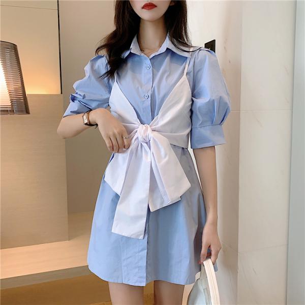 Big Size Chất Béo Mm Tay Bồng Áo Sơ Mi Váy Ngắn Nữ Bó Eo Tôn Dáng 2020 Mùa Hè Mẫu Mới Phong Cách Hồng Kông Khí Chất Váy Liền