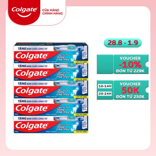 Bộ 5 Kem đánh răng Colgate ngừa sâu răng vượt trội công thức cải tiến hương vị tuyệt vời 200g/tuýp tặng bàn chải đánh răng