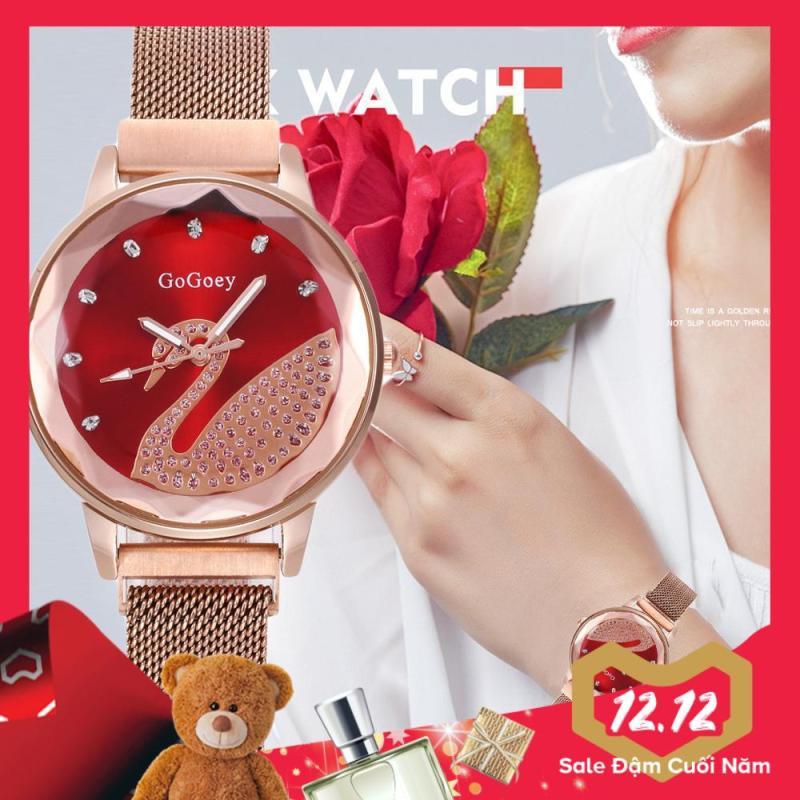 Nơi bán Đồng hồ nữ GOGOEY mặt thiên nga dây thép lụa khóa từ độc đáo IW-G468