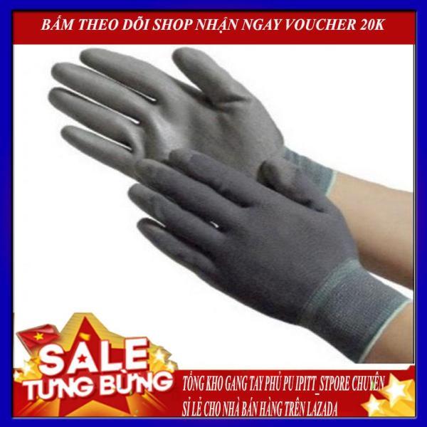 (Chuyên sỉ lẻ) 30  đôi Găng tay bảo hộ lao động phủ PU lòng bàn tay chống tĩnh điện, chống cắt