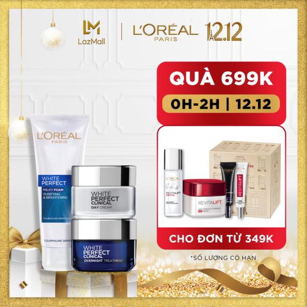 Bộ sản phẩm Sáng Da Rạng Rỡ Sữa rửa mặt kem ngày & kem đêm LOreal Paris Shinning bright Skin Care nhập khẩu