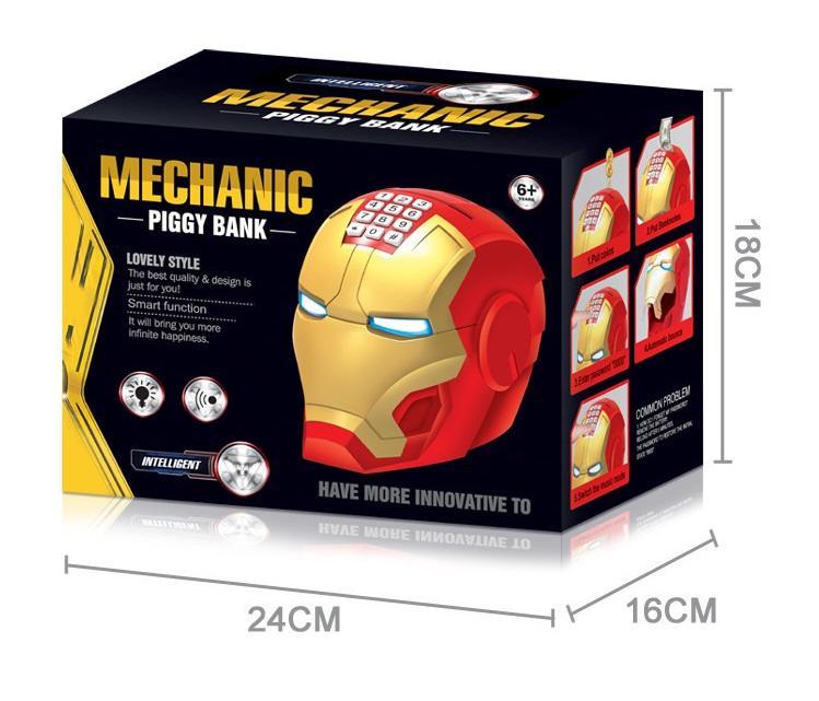 Két sắt mini hình Iron Man cho bé có âm thanh khi mở cực đẹp+tặng giá đỡ điện thoại mini