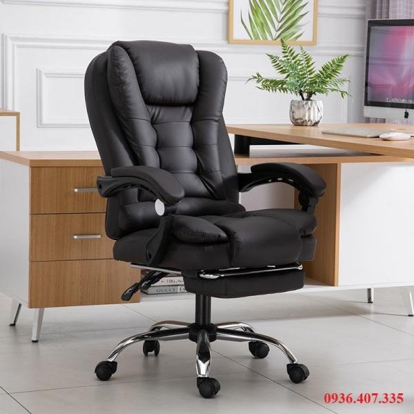 Ghế xoay văn phòng ,Ghế làm việc ,Ghế Giám Đốc Có Massage Lưng, Có Để Chân Da PU Cao Cấp – T148 giá rẻ