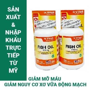 COMBO 2 HỘP DẦU CÁ VITAR FISH OIL 1000MG HỘP 100 VIÊN TPBVSK Bổ sung Omega-3, DHA và EPA Sản xuất và nhập khẩu từ Mỹ (USA) thumbnail