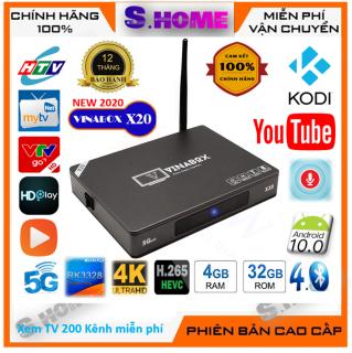 Android TV Box Vinabox X20 Ram 4G/Rom 32G A- Voice Bluetooth 4.0 Android 10  Xem TV 200 kênh miễn phí - Hàng Chính Hãng
