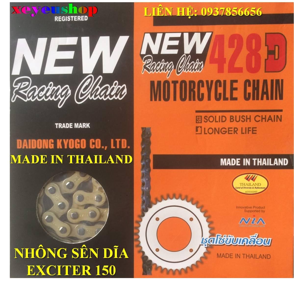 Nhông sên dĩa Exciter 150 428D vàng Thái Lan