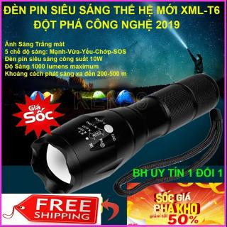 Đèn pin siêu sáng, Đèn pin XML TS6, Chống nước cực tốt, chiếu xa lên tới 400m , Tặng kèm pin , sạc và hộp đựng thumbnail