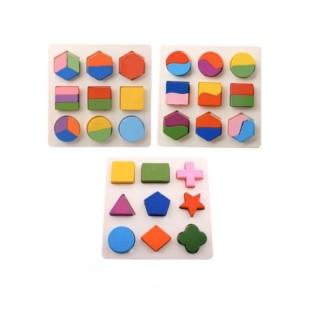 Combo 3 bộ lắp ghép hình học gỗ - đồ chơi gỗ an toàn trí tuệ cho bé thumbnail