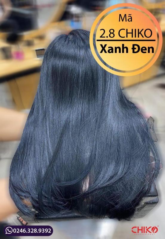 (KHÔNG CẦN TẨY)  Combo oxi + Thuốc nhuộm tóc màu xanh dương đen 2.8 CHIKO chính hãng (oxi 100ml) giá rẻ