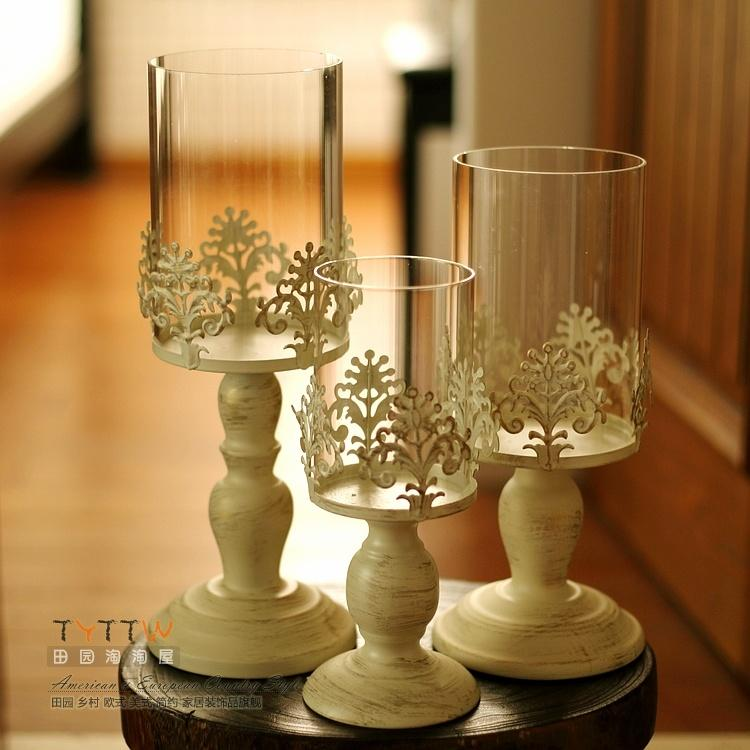 European Style Candlestick Dining Table Glass Candlestick Decoration Iron Art Candlestick Ornaments Crystal Candle Holder Model Wedding Decoration