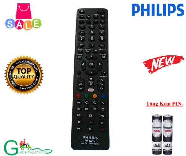 Bảng giá Remote điều khiển tivi PHILIPS PH-E913-Hàng chất lượng tốt-Dùng cho các dòng tivi LCD/LED/Smart tivi-Tặng kèm PIN