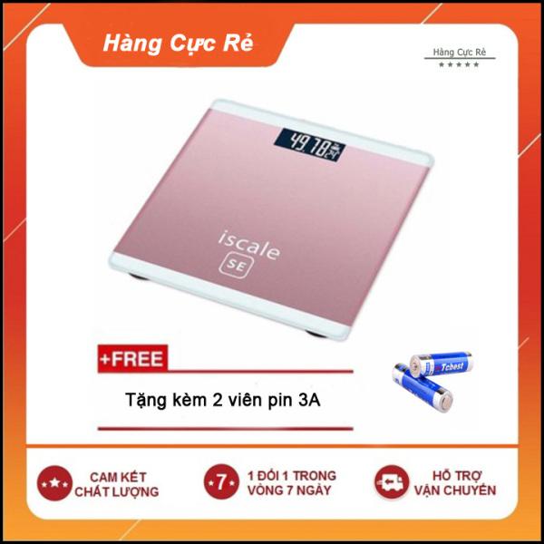 Cân sức khỏe điện tử 180kg HCR + Tặng kèm 2 pin - Cân có màn hình LCD, đo nhiệt độ phòng, mặt kính cường lực nhập khẩu