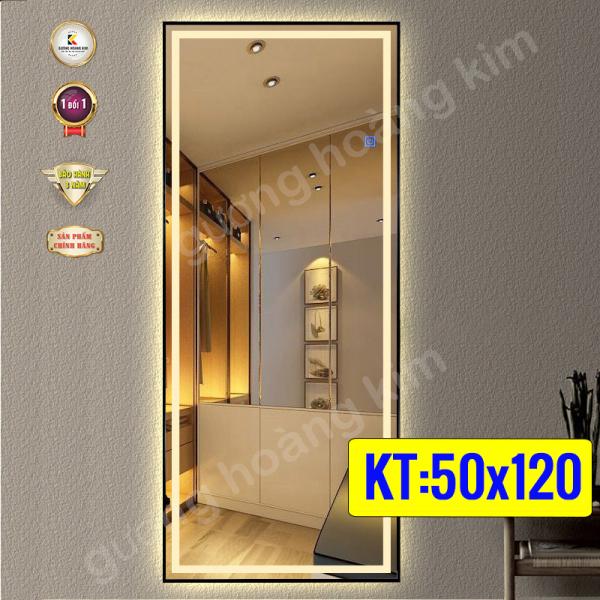 Gương Hoàng Kim Gương soi toàn thân đèn led cảm ứng  3 chạm hoặc 3 mầu thông minh kích thước 50x120 cm-60x120cm khung phào guonghoangkim - mirror