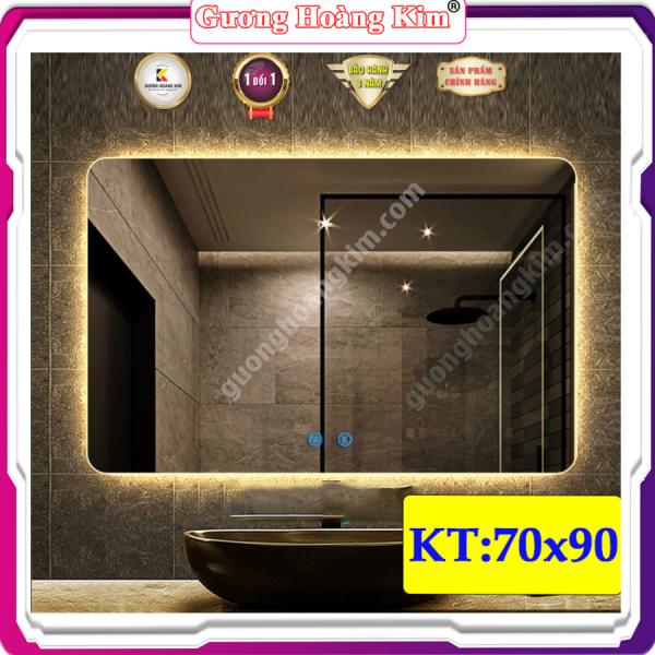 Gương soi hình chữ nhật treo tường trang điểm phòng tắm giá rẻ gương có đèn led cảm ứng thông minh gương dày 4mm gương phòng tắm hoàng kim tính năng cảm ứng 3 chạm + 3 mầu led  kích thước 70x90 cm guonghoangkim mirror HK-3112