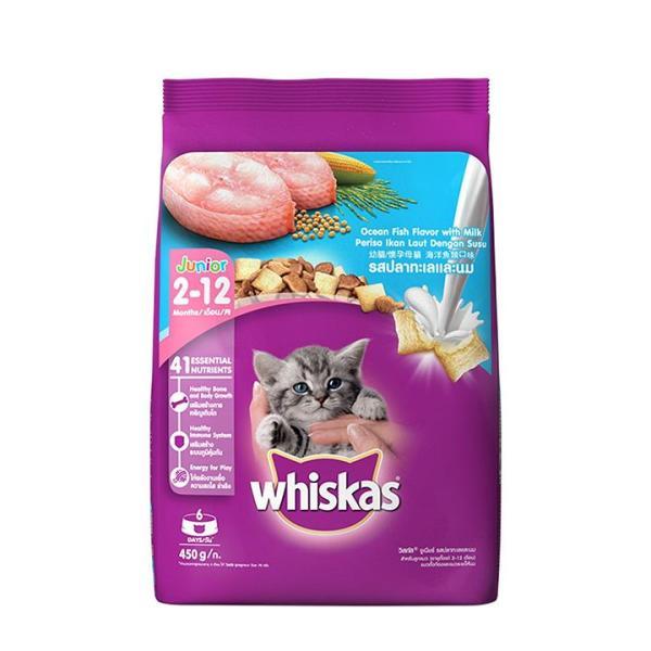 Thức ăn cho mèo con Whiskas Junior 450g Vị Cá Biển Và Sữa