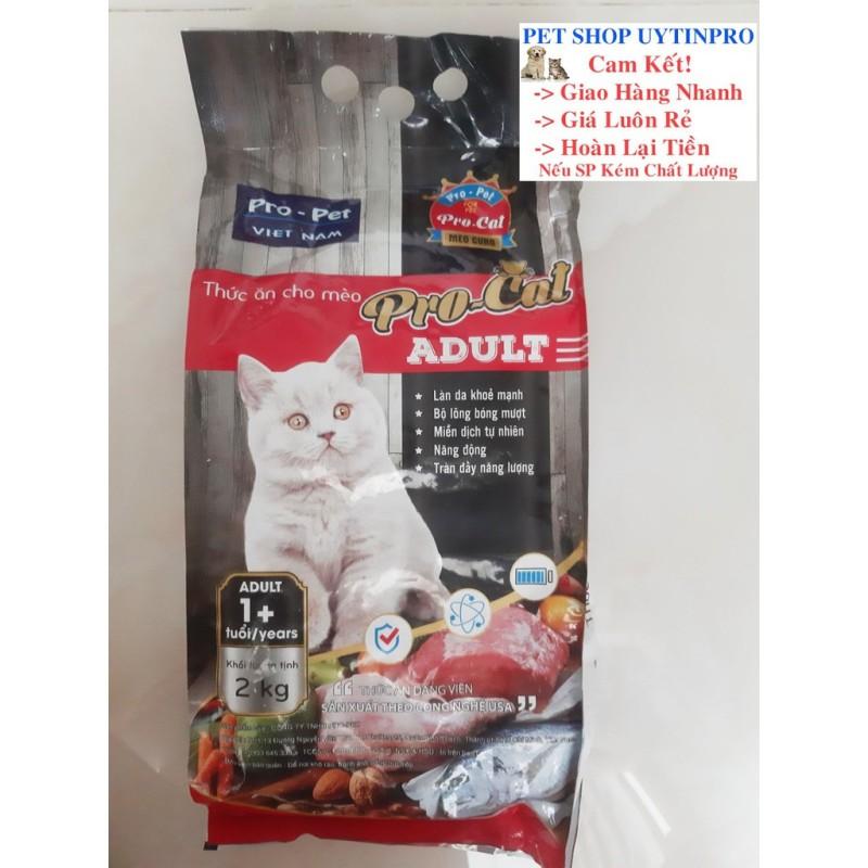 THỨC ĂN HẠT CHO MÈO Pro-Cat Aldult Túi 2kg Xuất xứ Pro-Pet Việt Nam