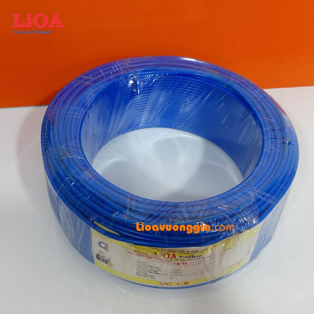 Dây điện đơn dân dụng LiOA ruột đồng cứng bện 7 sợi bọc nhựa PVC. Cỡ ruột 1.5mm2 - Cuộn 100m VC-1.5R2XD