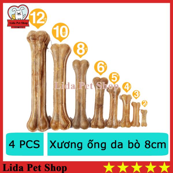 HN- Bộ 4 Xương ống da bò cho chó gặm - phù hợp với chó  5-15kg (369) 8cm-HP10330TC