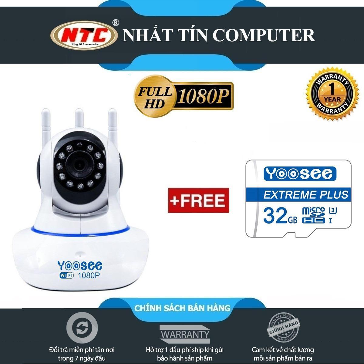 [HCM]Camera IP Wifi Yoosee 3 Râu 2.0M FullHD 1080P 10 đèn hồng ngoại đàm thoại 2 chiều (Trắng) - Kèm thẻ nhớ Yoosee/NTC 32GB - Nhất Tín Computer